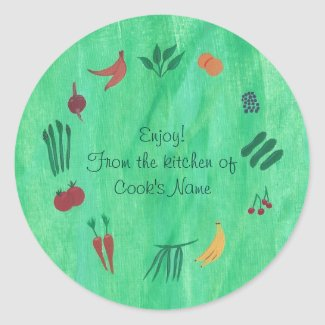 Fruits Veggies From the Kitchen of Lid Stickers