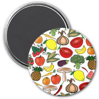 Fruits & Veggies magnet, large 3 Inch Round Magnet