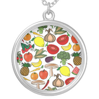Fruits & Veggies necklace, choose style Silver Plated Necklace