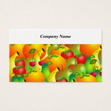 Fruity Background Fruit Farming Farmers' Market Business Cards