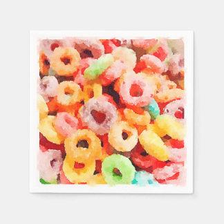 Fruity Breakfast Cereal Loops Paper Napkins