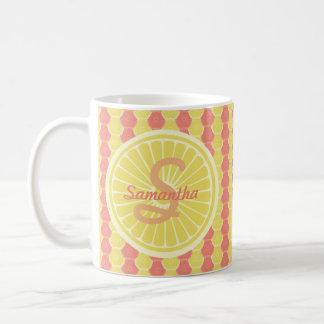 Fruity Citrus Monogram and Name Basic White Mug