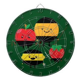 fruity-ninjas dartboard with darts