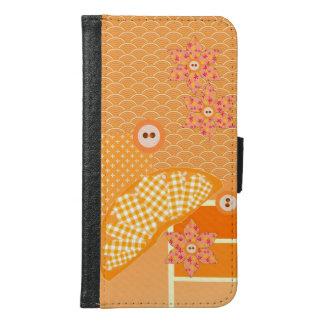 Fruity Orange Patchwork Decorative Scrapbook Samsung Galaxy S6 Wallet Case