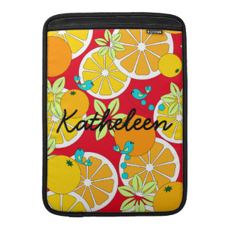 Fruity orange slices & blue birds (customizable) MacBook air sleeve