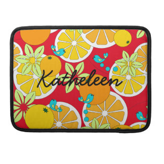 Fruity orange slices & blue birds (customizable) MacBook pro sleeve