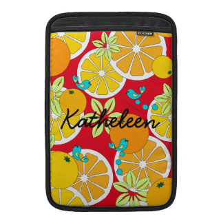 Fruity orange slices & blue birds (customizable) MacBook sleeve