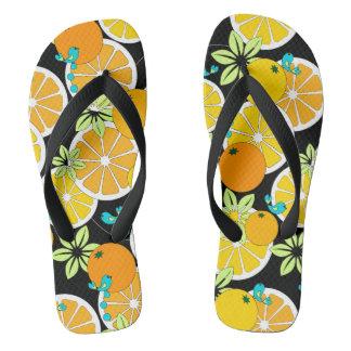 Fruity orange slices & blue birds flip flops