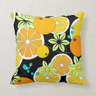 Fruity orange slices & blue birds throw pillow