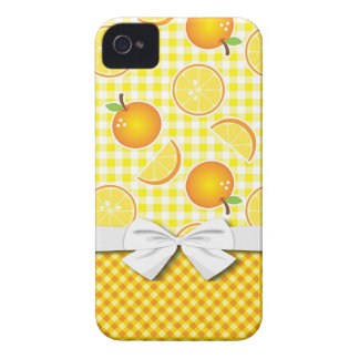 fruity oranges on plaid pattern Case-Mate iPhone 4 case