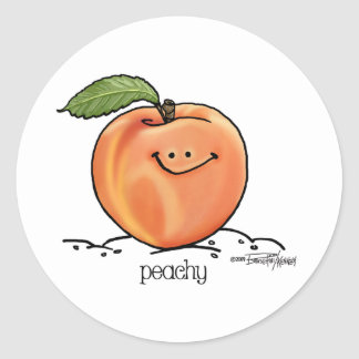 Fruity Peach - Cartoon Classic Round Sticker