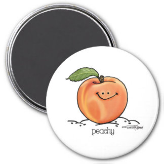 Fruity Peach - Cartoon 3 Inch Round Magnet