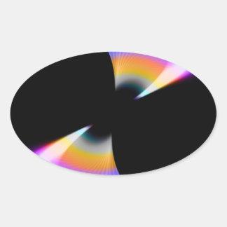 Fruity Rainbow Twirl Oval Sticker