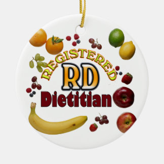 FRUITY RD REGISTERED DIETITIAN Double-Sided CERAMIC ROUND CHRISTMAS ORNAMENT