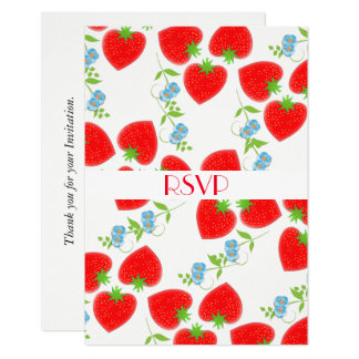 Fruity Strawberries Flowers Editable Party RSVP Card