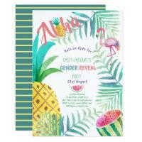 Fruity Tropical GENDER REVEAL Invites Flamingo