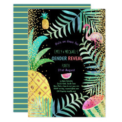 Fruity Tropical GENDER REVEAL Invites Flamingo