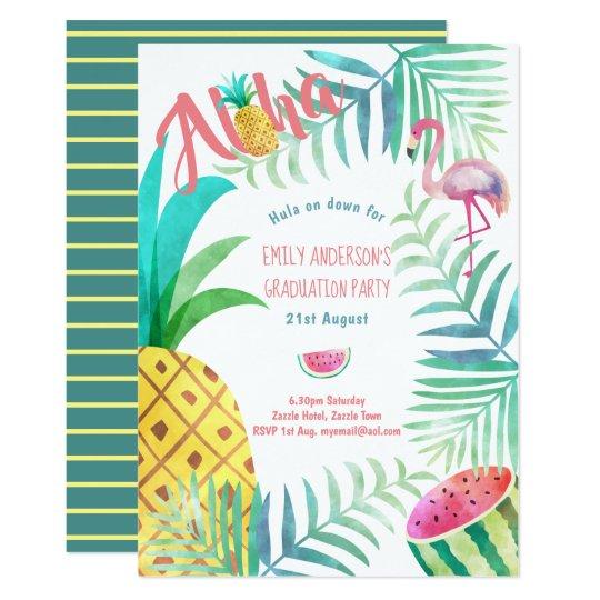 Fruity tropical graduation party invites flamingo zazzle fruity tropical graduation party invites flamingo filmwisefo