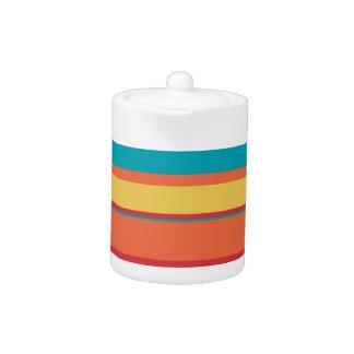 Fruity Tropical Tonal Stripes Teapot
