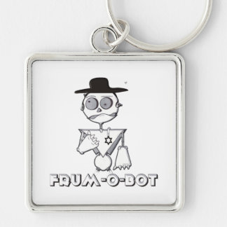 Frum-O-Bot Silver-Colored Square Keychain