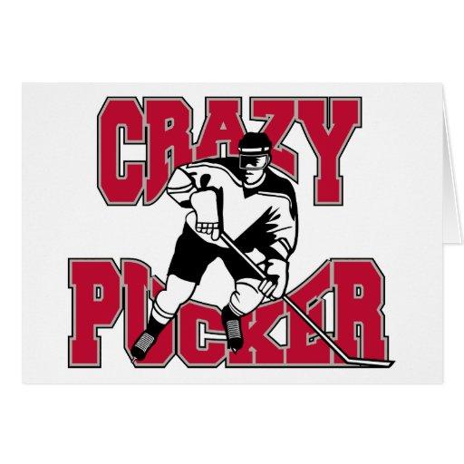 Fruncido loco del hockey tarjeta de felicitación