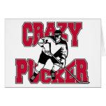 Fruncido loco del hockey tarjeton
