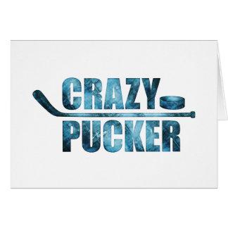 Fruncido loco (hockey) tarjeta de felicitación