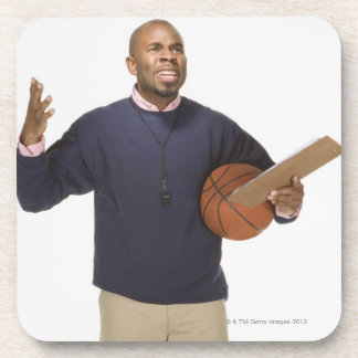 Frustrated basketball coach, on white background drink coaster