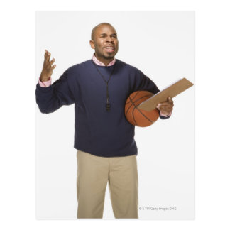 Frustrated basketball coach, on white background postcard