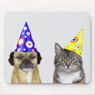 Frustrated dog and cat with party little hats mouse pad