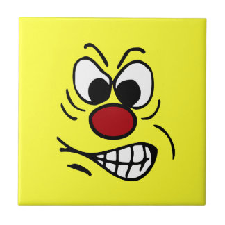 Frustrated Smiley Face Grumpey Ceramic Tile