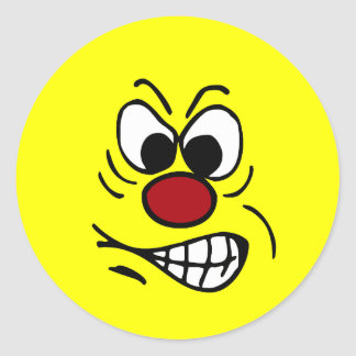 Frustrated Smiley Face Grumpey Classic Round Sticker