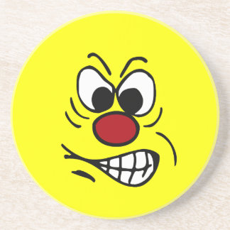 Frustrated Smiley Face Grumpey Beverage Coaster