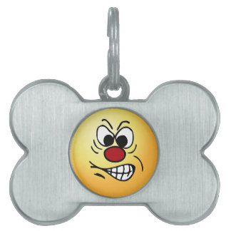 Frustrated Smiley Face Grumpey Pet ID Tag