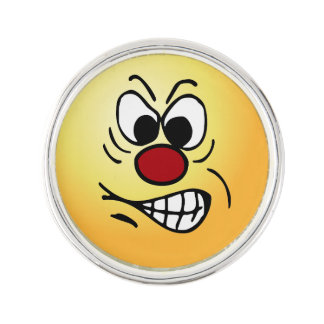 Frustrated Smiley Face Grumpey Pin