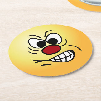 Frustrated Smiley Face Grumpey Round Paper Coaster