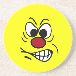 Frustrated Smiley Face Grumpey Sandstone Coaster