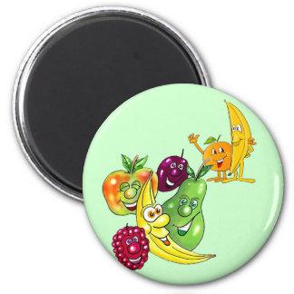 Fruta alimenticia sana imán redondo 5 cm