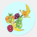 Fruta alimenticia sana pegatina redonda