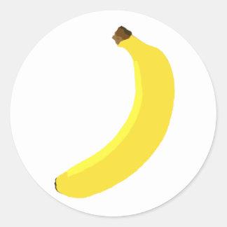 Fruta amarilla del plátano pegatina redonda