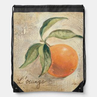 Fruta anaranjada brillante redonda mochila