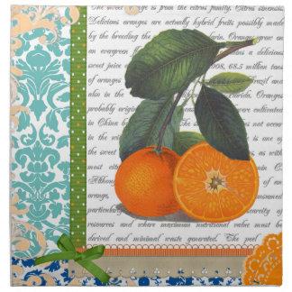 Fruta anaranjada de la Florida del vintage que cen Servilleta Imprimida