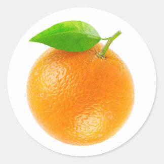 Fruta anaranjada pegatina redonda