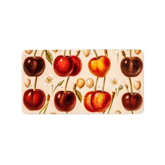 Fruta antigua de las cerezas de las variedades de  etiqueta de dirección