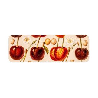 Fruta antigua de las cerezas de las variedades de etiqueta de remitente