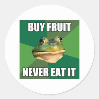 Fruta asquerosa de la compra de la rana del pegatina redonda