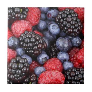 Fruta-- Bayas frescas--Teja/Trivet Azulejo Cuadrado Pequeño