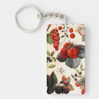 Fruta botánica llavero rectangular acrílico a una cara