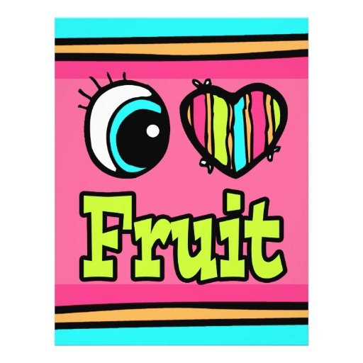 "Fruta brillante del amor del corazón I del ojo Folleto 8.5"" X 11"""