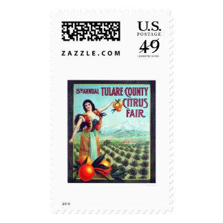 Fruta cítrica del condado de Tulare justa Sello Postal
